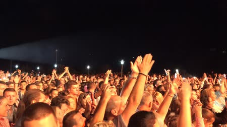 menigte : Menigte bij Concert - fans juichen in Audience met Smartphones in Music Show in Coachella in Slow Motion