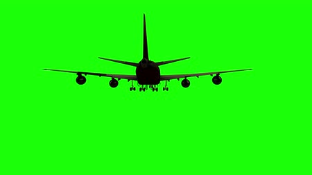 volno : 4k Plane silhouette take off, green screen with alpha matte at second half of footage