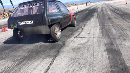 sofia : Sport car drag challenge at race track Kondofrey in Bulgaria
