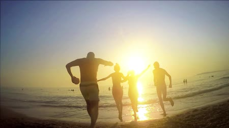 slomo : Group of Teenagers Run Into The Water Sunset, SLOW MOTION, Celebrate On The Beach Stock Footage