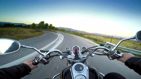 lovas : Driving motorbike on asphalt road. POV Stock mozgókép