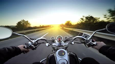 lovas : Motorcycle ride pov, road adventure toward sunset, 4k