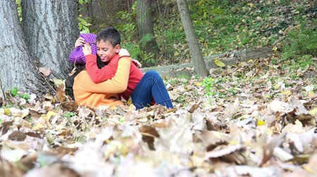 сестра : Brother and sister change feelings playing, and kissing in autumn forest