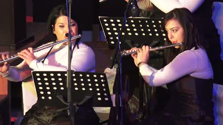 flutist : Flute orchestra players at New Year Performance Stock Footage