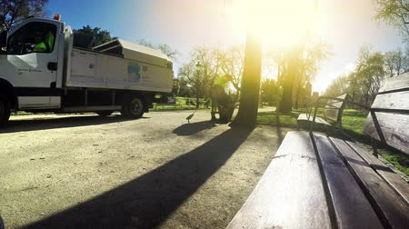 septic : City park cleaning service keeps the environment tidy at sunset