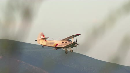 iowa : A crop duster applies chemicals to a field of vegetation Stock Footage