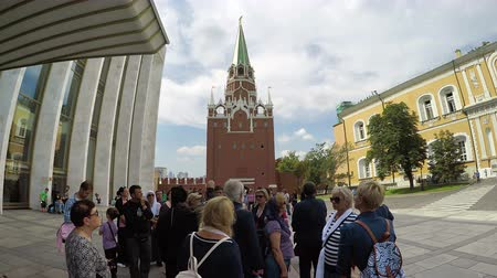 senate square : Panorama of tourist visitors at Kremlin with Senate building in Moscow, Russia