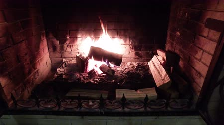 open hearth : The fire in the fireplace. Firewood,charcoal,flames Stock Footage