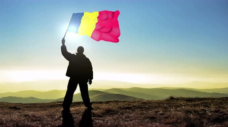 чад : Successful silhouette man winner waving Chad flag on top of the mountain peak. Cinemagraph LOOP background