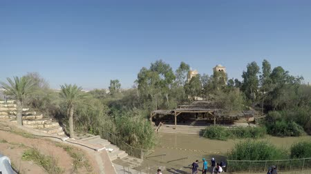 baptismal : Baptismal site Qasr el Yahud on the Jordan river near Yericho is according to the bible the place where Jesus Christ is being baptized by John the baptist
