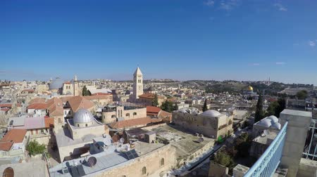 jerozolima : Jerusalem skyline  Israel with view of Church of the Holy Sepulchre Wideo