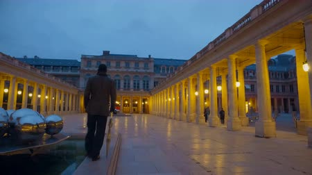vosges : Man with umbrella in Royal Palaice of Fontainebleau in France at twilight. The Royal Palace of Fontainebleau was one of the main palaces of French kings