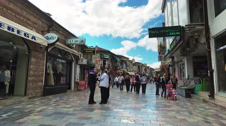 ohrid : Hyper Timelapse pov walk on main shopping boulevard in the historical center of macedonian unesco town Ohrid