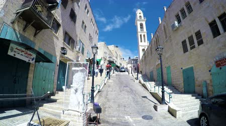 jesus born : Traditional street alley in Bethlehem in Palestinian Territories from close to Nativity church Stock Footage