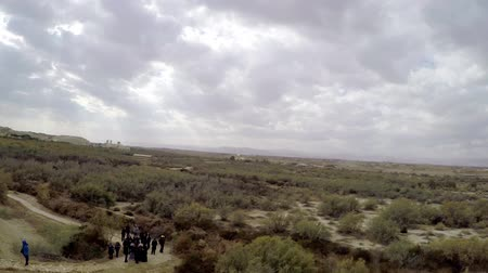 baptized : Panorama of the West Bank  Palestine  view from the baptism site of Jesus Christ at the River Jordan  Wadi Al-Kharrar  Jordan