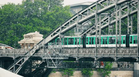 bir hakeim : Paris Austerlitz bridge over river Seine with subway passing Stock Footage