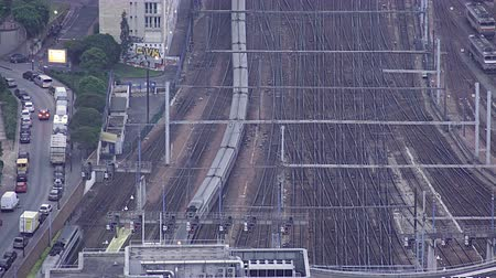train workers : Aerial view over the railway, Train arrival at Paris Train Station, Gare Vaugirard