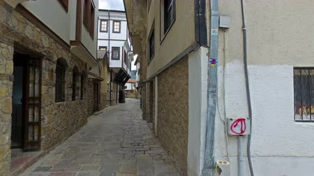 ohrid : Alley street and historic house architecture in Ohrid, Macedonia