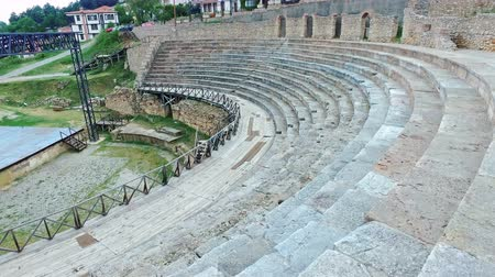 színésznő : Amphitheatre Seats at aquistic spot where famoust Ohrid Summer festival is held, Ohrid, Macedonia
