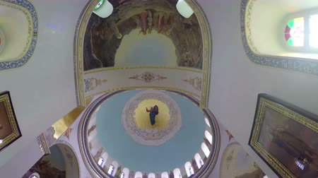 felemelkedés : Interior of Russia Church Candle on Mount of Olives in Jerusalem Stock mozgókép