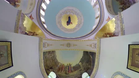manastır : Interior of Russia Church Candle on Mount of Olives in Jerusalem Stok Video