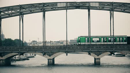 french metro : Paris Austerlitz bridge over river Seine with subway passing Stock Footage
