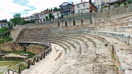 театральный : Old amphitheater in Ohrid, Macedonia. Ohrid summer festival is held here and a lot of worlds classic music arthists are making their performances in this aquistic place Стоковые видеозаписи