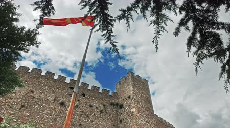 ohrid : Macedonian flag at the Car Samoil's Fortress in Macedonia