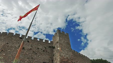 ohrid : Macedonian flag and the Car Samoil�s Fortress in Macedonia against blue sky