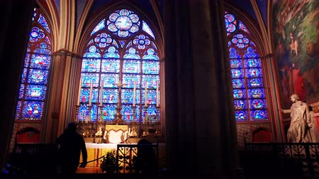 Epic interior of cathedral Notre Dame de Paris, Paris, France