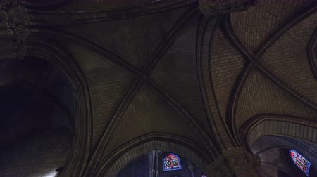 Dark atmosphere, the interior of the Notre Dame de Paris, France