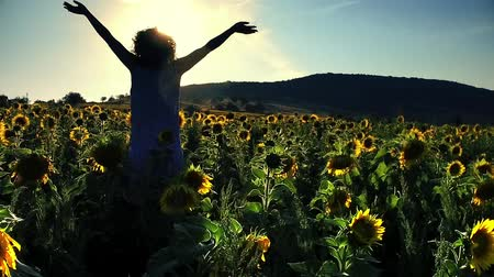Beauty girl on yellow sunflower field, raising hands. Freedom concept. Happy woman outdoors. Harvest. Sunflowers field in sunset. Slow motion