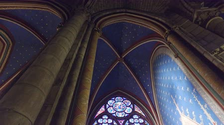 Interior of one of the oldest Cathedrals in Europe- Notre Dame de Paris. France Stock Footage