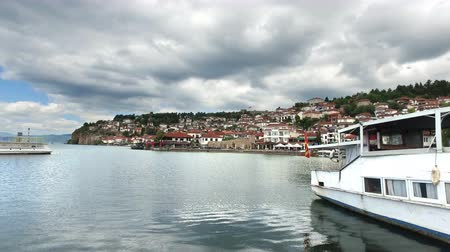 Panoramic view of Ohrid Lake with old town and port, Macedonia, cinematic