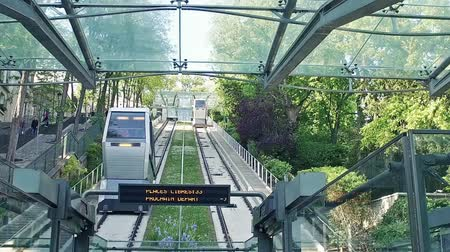 french metro : Montmartre Cable car in Paris, Slow motion
