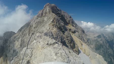 alpinista : Mountaineer pov to expedition climbing to Triglav summit on Julian Alps mountain range