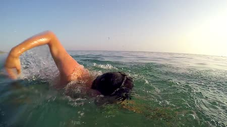 plazí : Sport man swimming front crawl on marathon against sun, following shot, SLOW MOTION