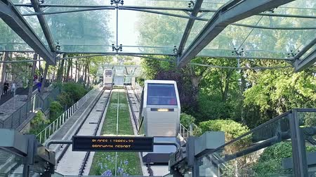 french metro : Funicular transportation elevator in Paris. Way to Sacre Coeur Church, SLOW MOTION Stock Footage