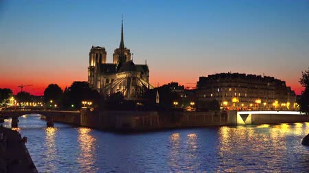 anlamlı : Sunset background of Seine and Notre Dame de Paris, Paris, France, background loop