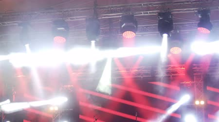 many lights : Stage led lights changing color, party atmosphere background Stock Footage