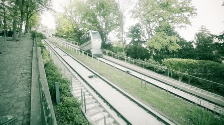 funicular : Funicular of Montmartre, which lifts to the temple of the Sacre Coeur. Paris. France