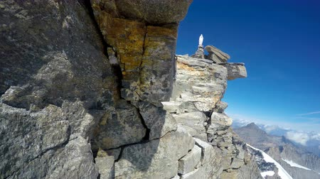 montanhismo : Mountaineer POV on expedition to Gran Paradiso summit on Italian Alps. View from helmet mount camera Stock Footage