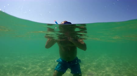 plavat : Man with adjusting mask and snorkeling at Costa Paradiso, camera dome shot
