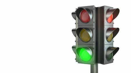 red background : Four sided traffic light isolated on white background
