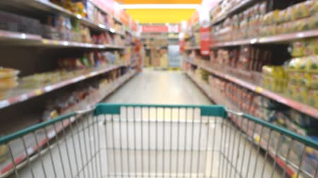 Blurred photo of store with trolley in department store