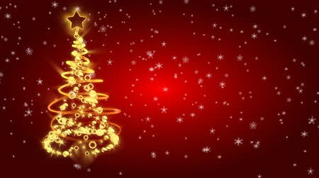 kardan adam : Christmas tree with light on red background Stok Video