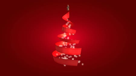 kardan adam : Christmas ribbon tree on red background (loop)