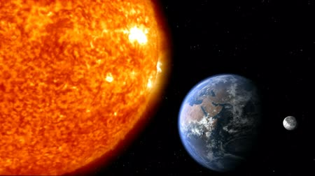 astroloji : Planet earth with moon and sun in space