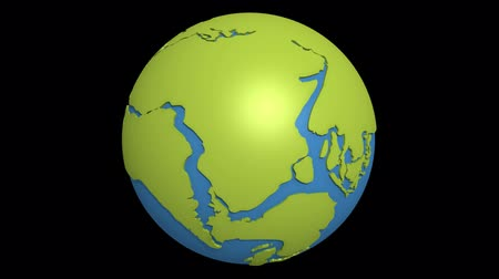 дрейф : Globe with super continent Pangea and sea Tetis Стоковые видеозаписи