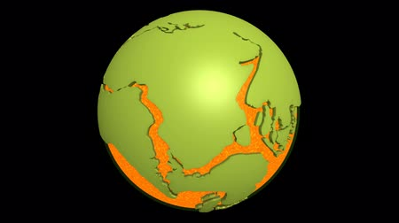 placas : Globe with super continent Pangea and magma